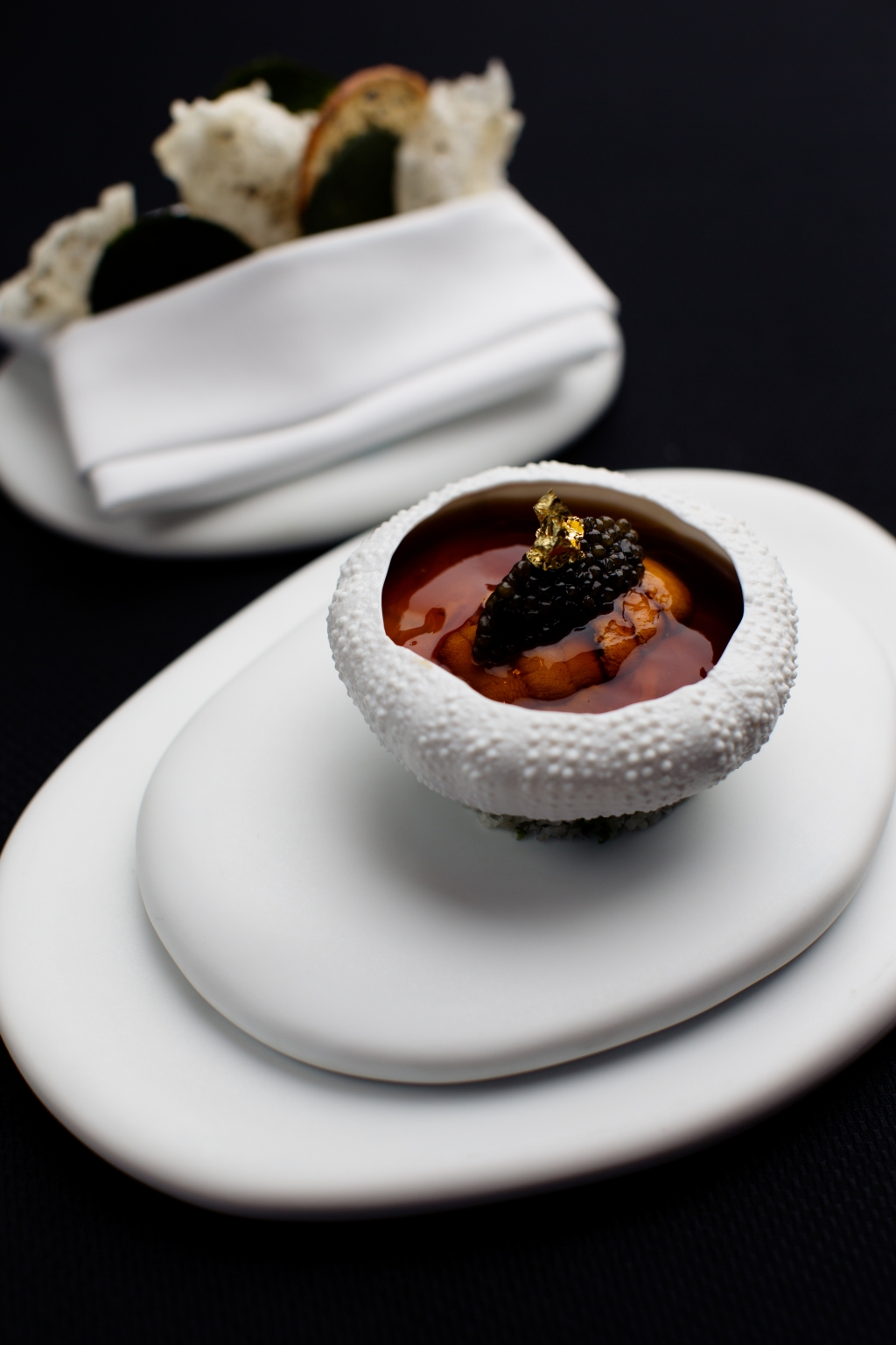 Hokkaido Sea Urchin in a Lobster Jell-O with Cauliflower, Caviar and Crispy Seaweed Waffles