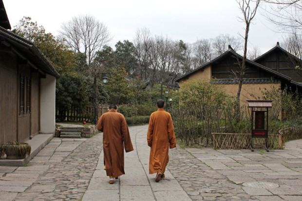 Monks on the main pathway through Amanfayun. Pic: Amanresorts