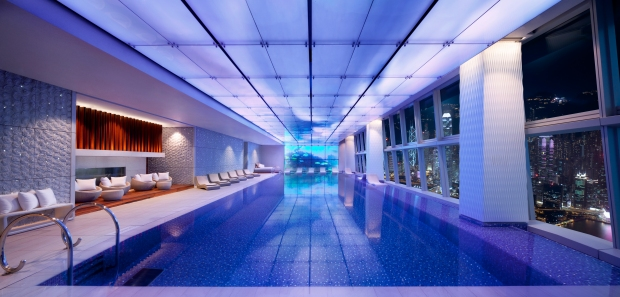 The Ritz-Carlton Hong Kong's swimming pool at night