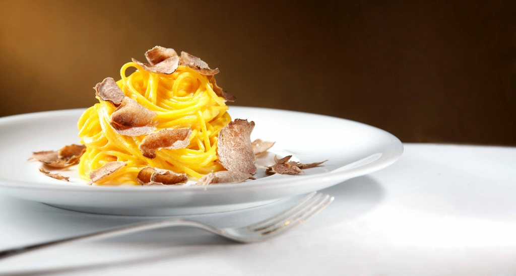 """40 egg yolks"" taglioni with white truffle at Grissini, Grand Hyatt Hong Kong"