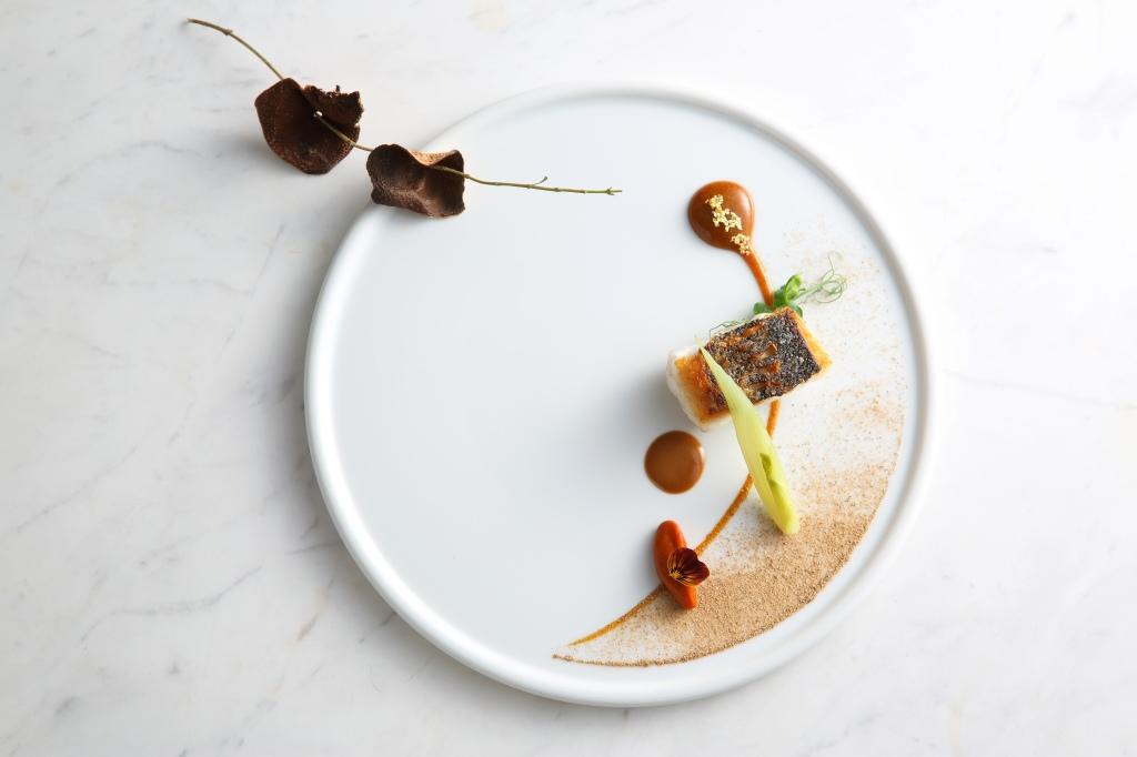 """AGED MANDARIN SEA BASS"" - pan roasted suzuki sea bass / aged mandarin peel jam / lobster orange sauce/ fennel pollen / baby fennel by Vicky Lau at Tate Dining Room, Hong Kong"
