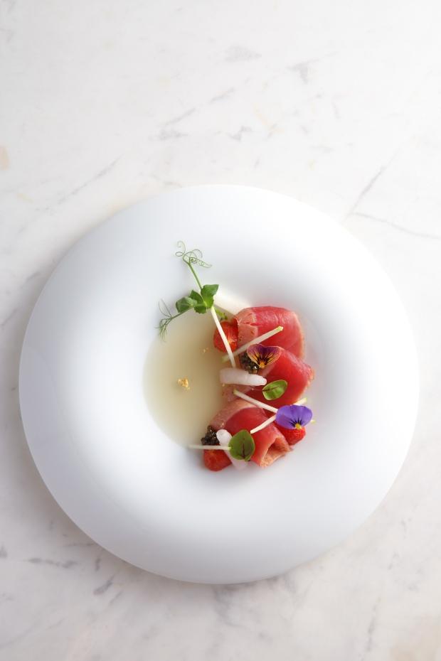 """""""BONITO"""" - marinated katsuo / bonito dashi geleé / daikon roll / datterino tomato confit by Vicky Lau at Tate Dining Room, Hong Kong"""