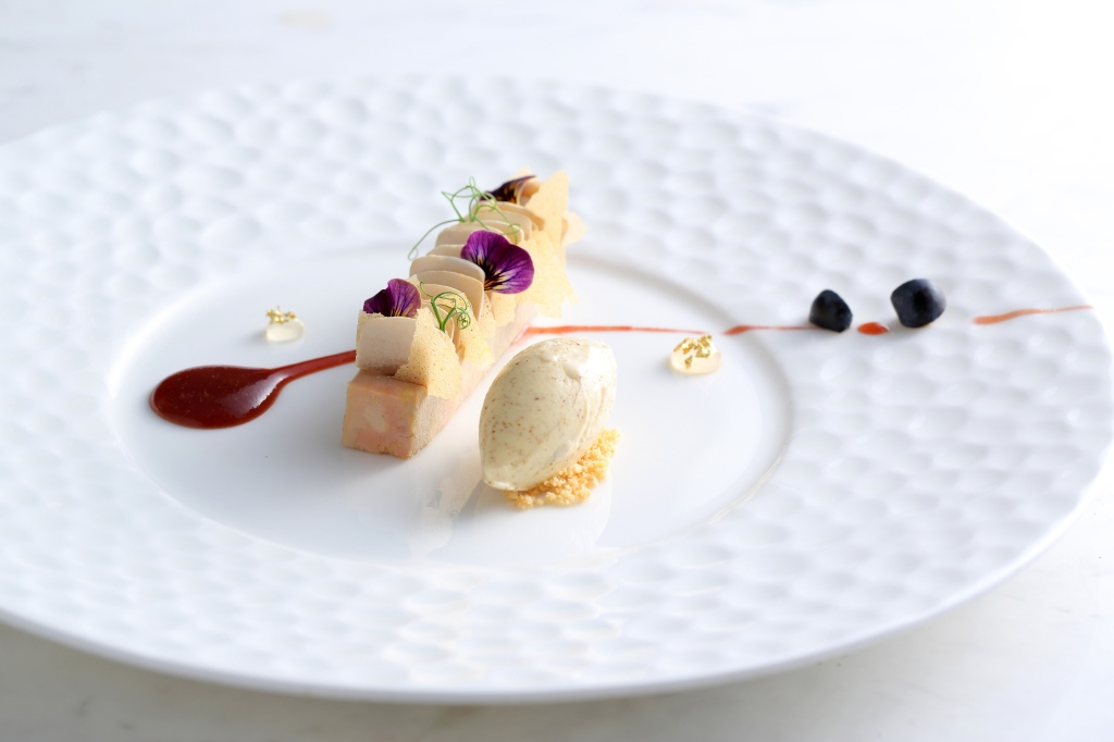 """""""FOIE GRAS TERRINE"""" duck foie gras terrine / spices & curry tuile / pommery mustard ice cream / blueberry sauce by Vicky Lau at Tate Dining Room, Hong Kong"""