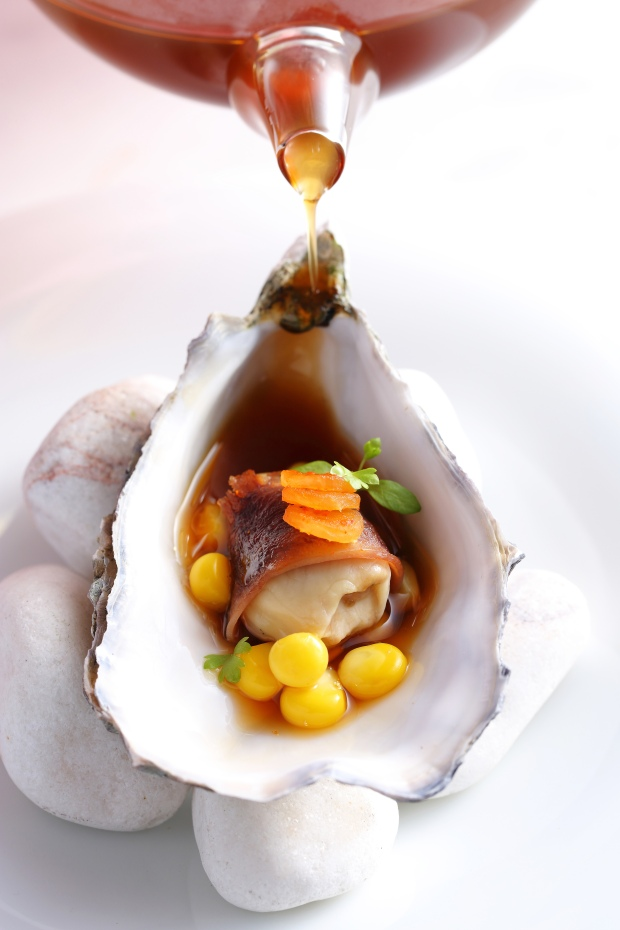 """WRETH"" lightly poached gillardeau oyster / chinese licorice root oxtail consummè / kimchi pickled daikon / sweetcorn kernels / braised wagyu beef tongue slice"