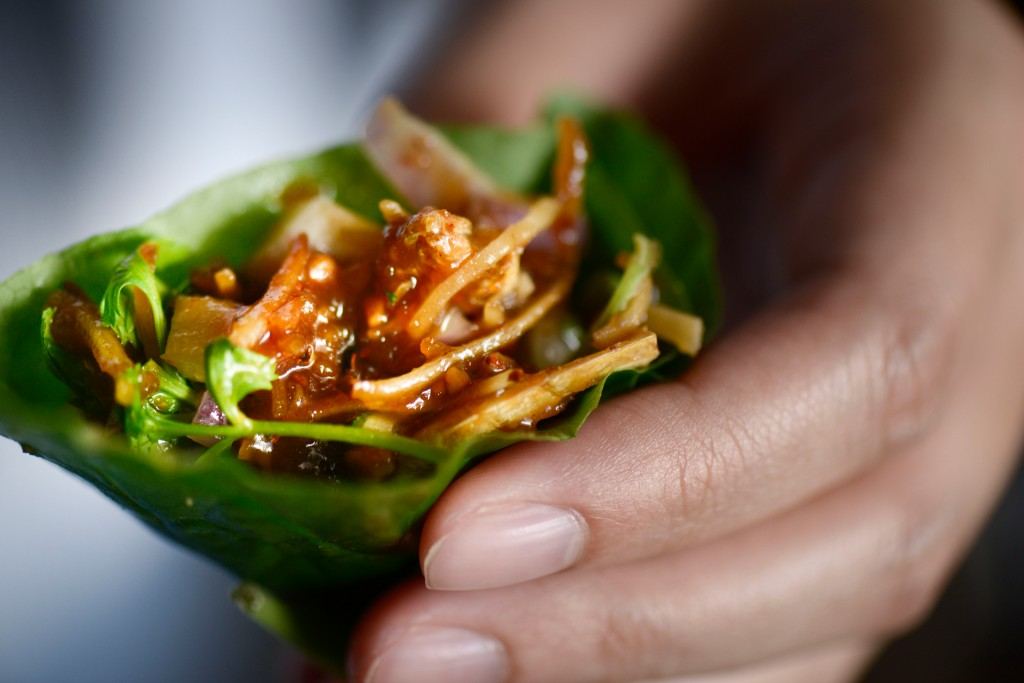 Miang of dried prawns at Long Chim, Marina Bay Sands, Singapore