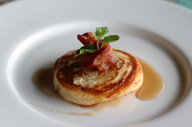 Buttermilk pancakes with smoked bacon and maple syrup at Song Saa, Cambodia