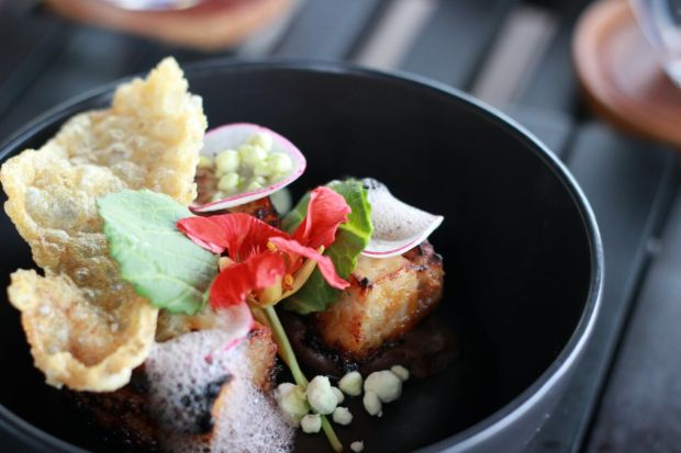 Pork belly breakfast dish at Alila Villas Soori, Bali