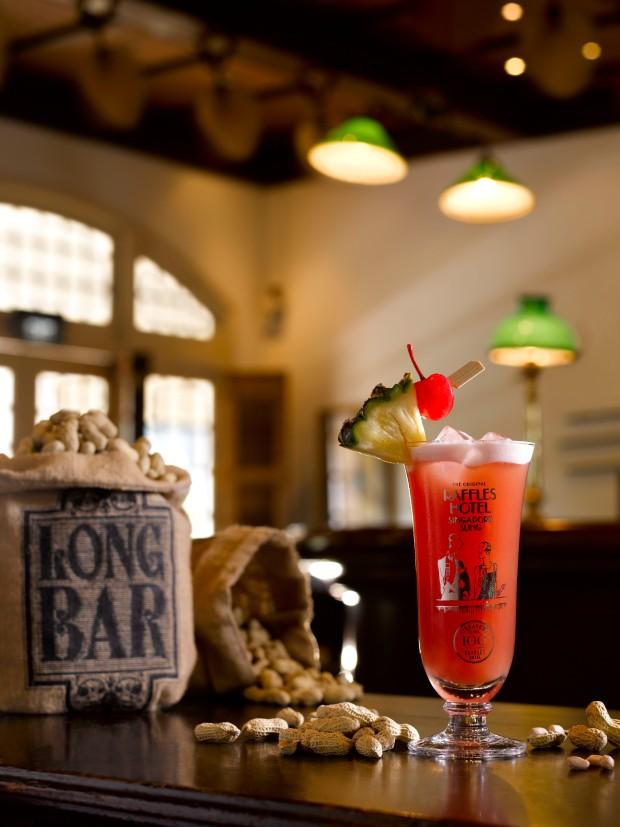 Singapore Sling at The Long Bar, Raffles, Singapore