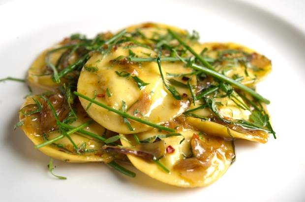 Goat's cheese ravioli at Osteria Mozza, Marina Bay Sands, Singapore