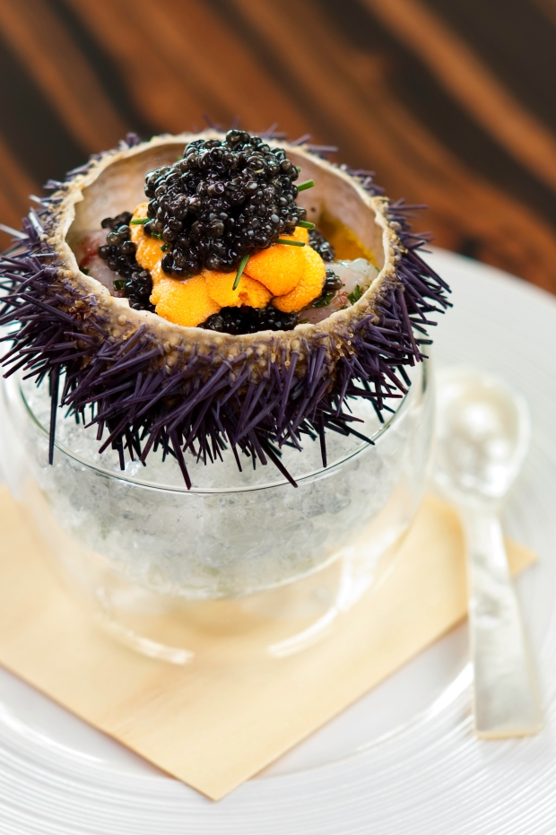Marinated shrimp with sea urchin and caviar at Waku Ghin, Marina Bay Sands, Singapore