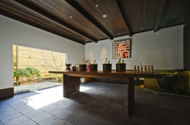 The tasting room at the Masumi sake brewery