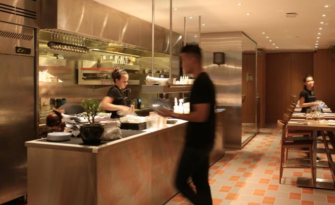 The open kitchen interior of Bacchanalia, Singapore