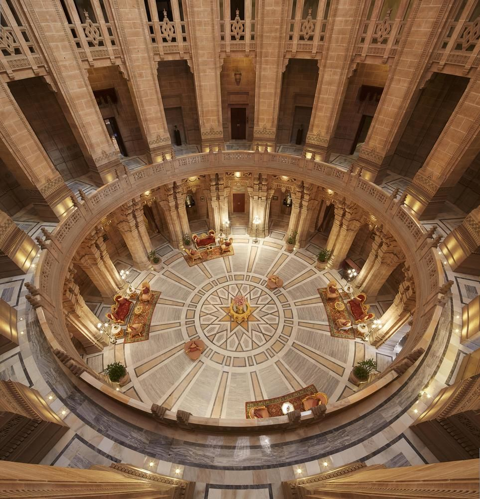 Taj umaid palace lobby fisheye view