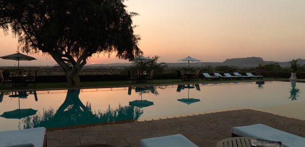 Taj Umaid swimming pool with Fort