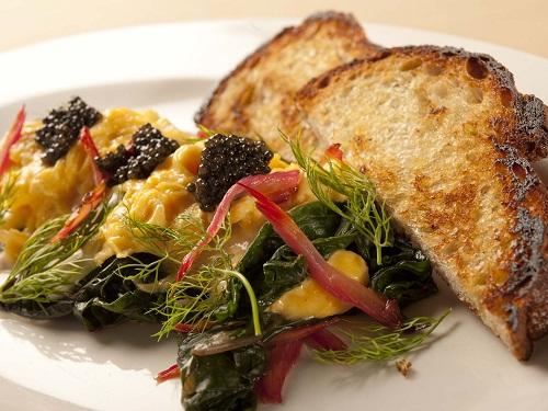 Scramble eggs w caviar Osteria Mozza