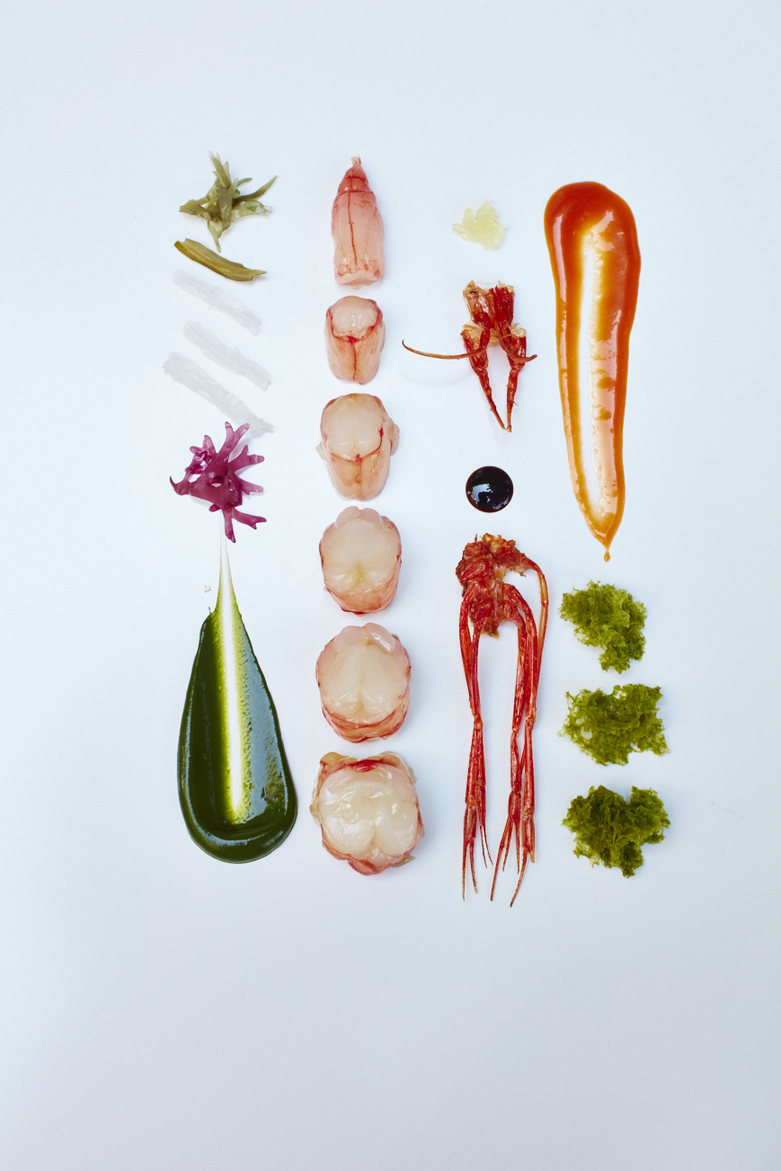 A deconstruction of the ingredients used to create 'Vinegar marinated prawn and katsuobushi with head juice, crispy prawn legs, seaweed velouté and phytoplàncton', an Asian inspired dish created by the Roca Brothers for El Celler de Can Roca's exclusive dining experience on 3 and 4 June 2016, in partnership with American Express Invites® at Felix restaurant at The Peninsula Hong Kong - their first in the City. Copyright David Loftus.
