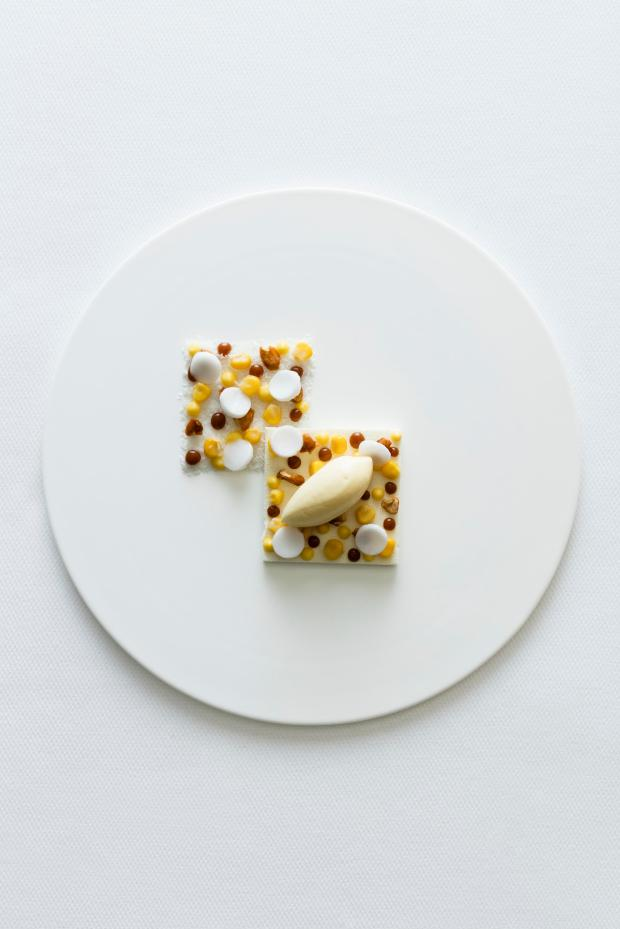 hokkaido corn, ice-cream over a coconut mousse  with salted caramel & roasted peanuts.jpg