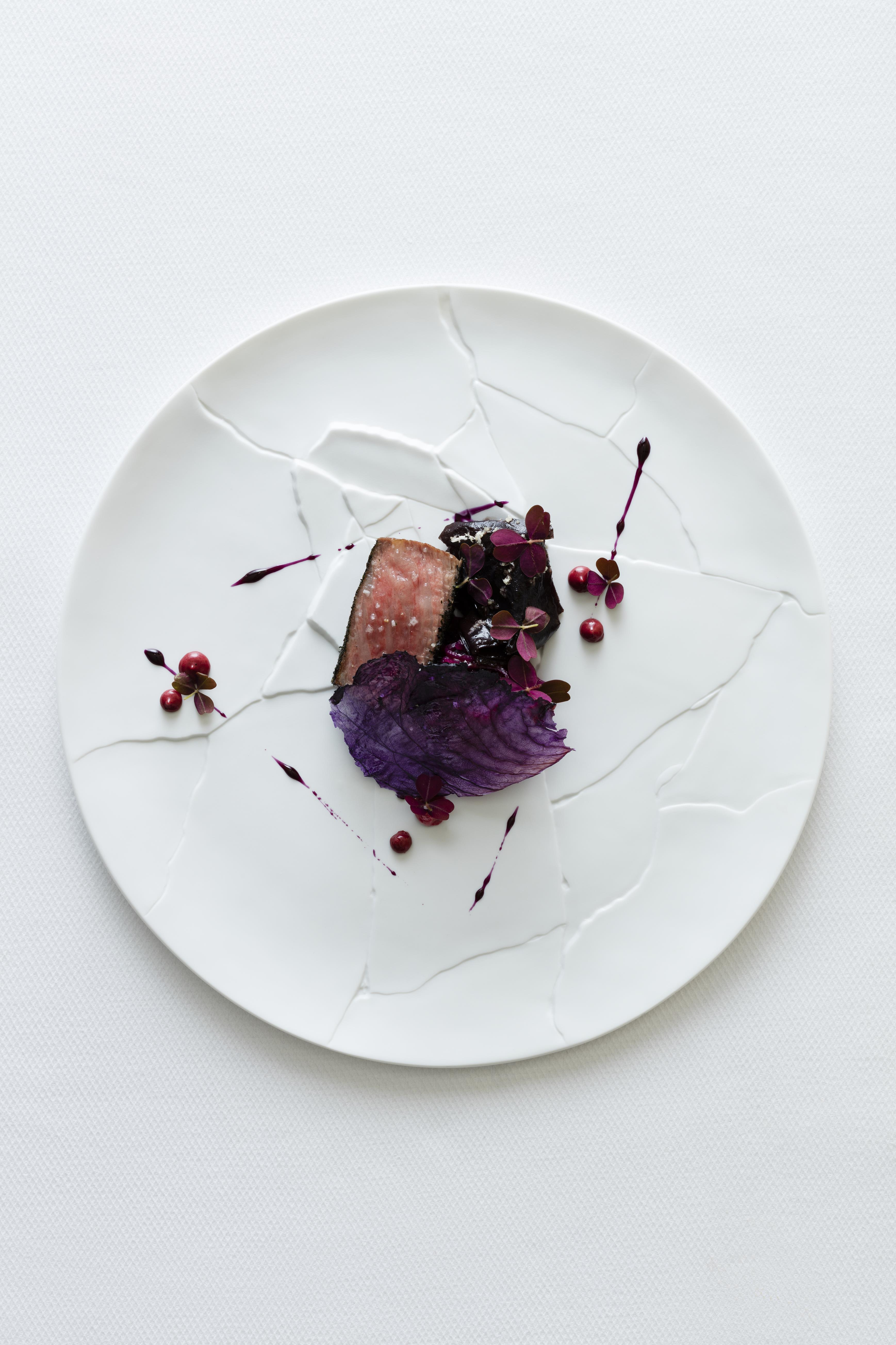 miyazaki wagyu beef, strip loin, barbecued with dulse & red cabbage slaw, oxalis, horseradish & pepper berry emulsion.jpg